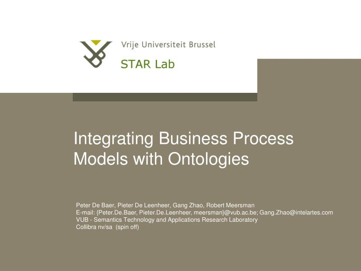Integrating business process models with ontologies