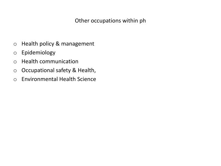 Other occupations within ph