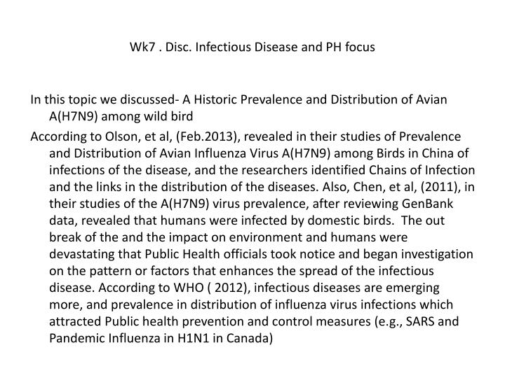 Wk7 . Disc. Infectious Disease and PH focus