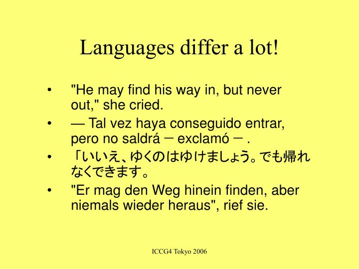 Languages differ a lot!