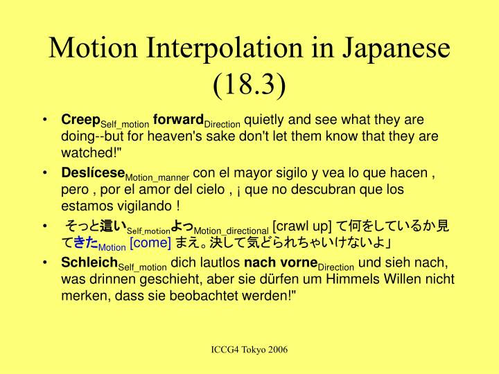Motion Interpolation in Japanese (18.3)