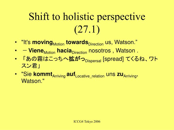 Shift to holistic perspective (27.1)