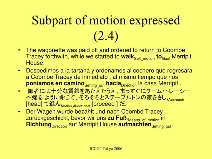 Subpart of motion expressed (2.4)