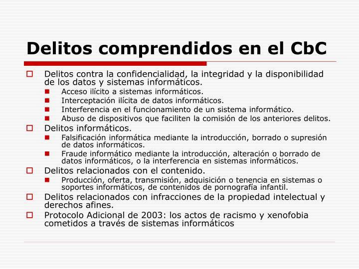 Delitos comprendidos en el CbC