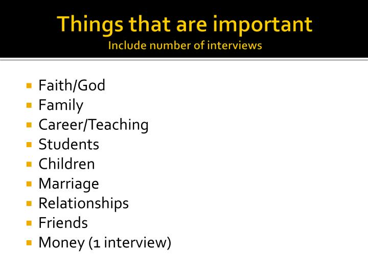 Things that are important