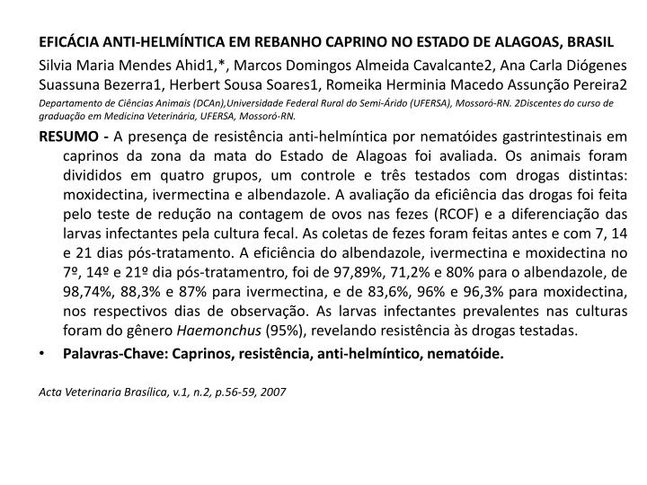 EFICÁCIA ANTI-HELMÍNTICA EM REBANHO CAPRINO NO ESTADO DE ALAGOAS, BRASIL