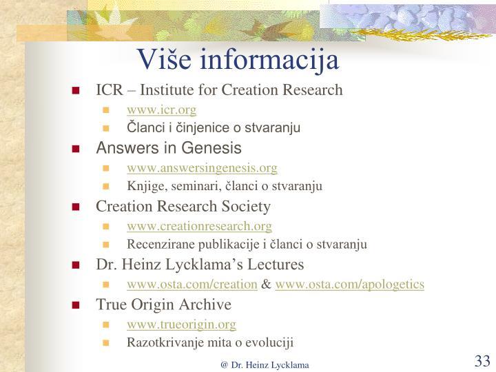 Više informacija