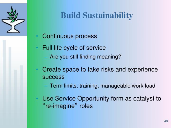 Build Sustainability