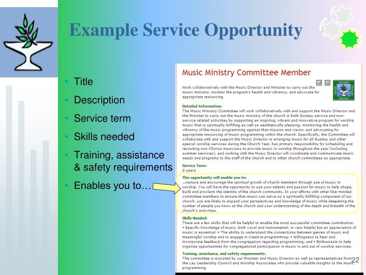 Example Service Opportunity