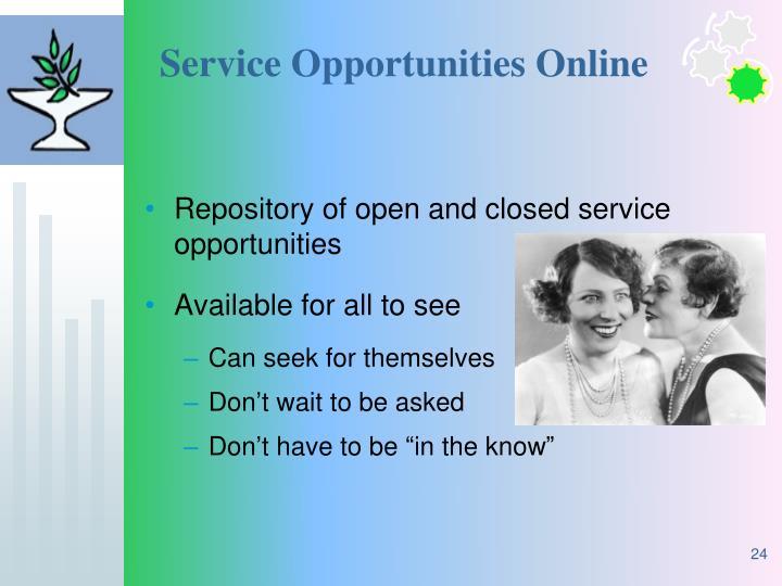 Service Opportunities Online