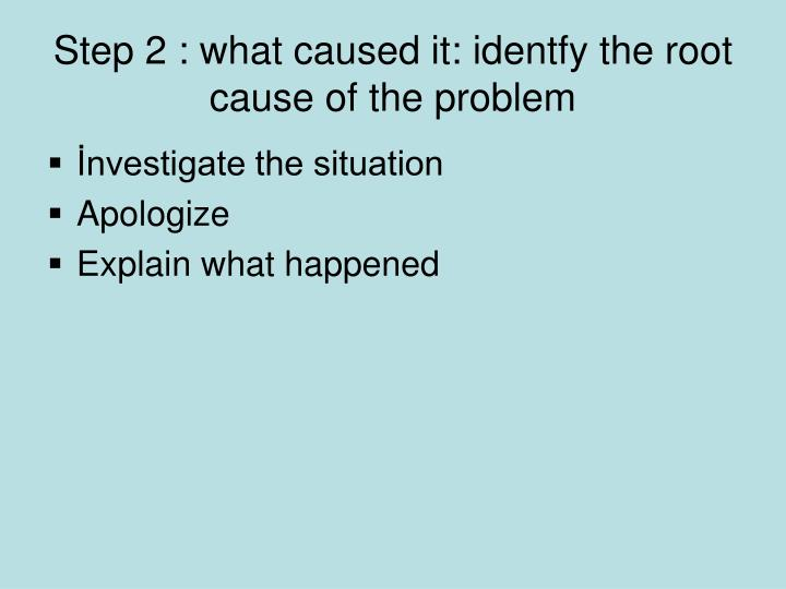 Step 2 : what caused it: identfy the root cause of the problem