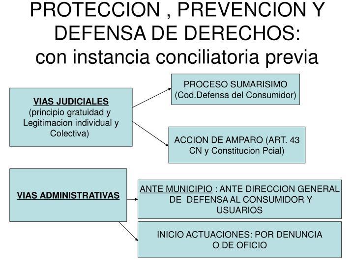 PROTECCION , PREVENCION Y DEFENSA DE DERECHOS:
