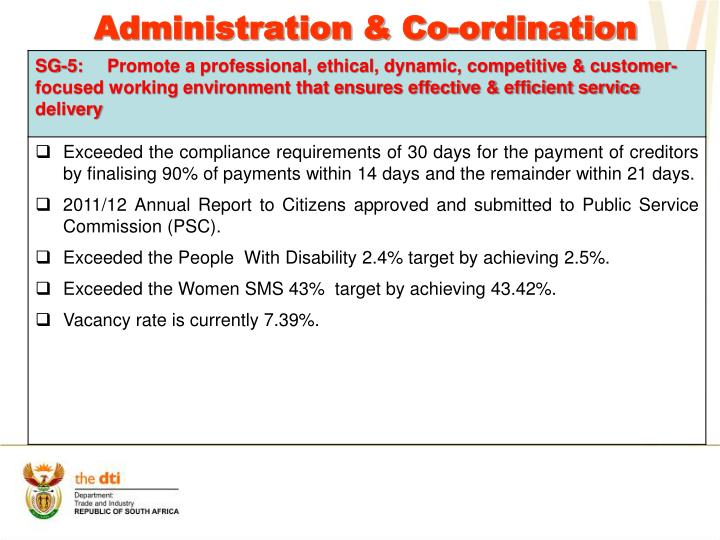 Administration & Co-ordination