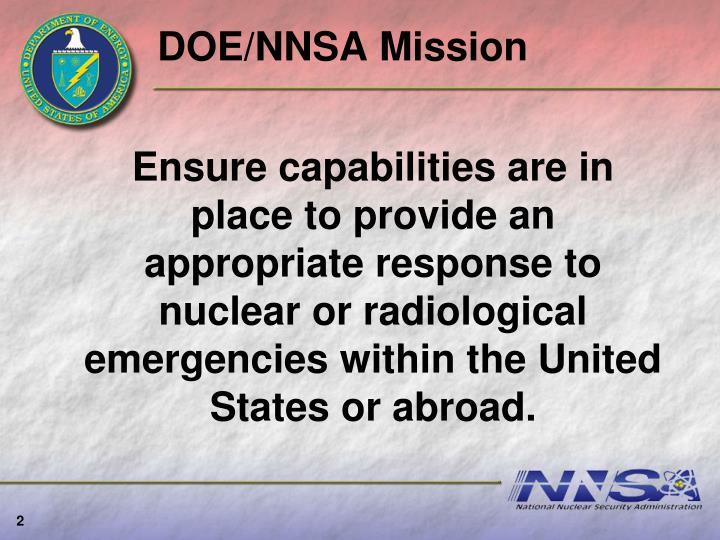 DOE/NNSA Mission