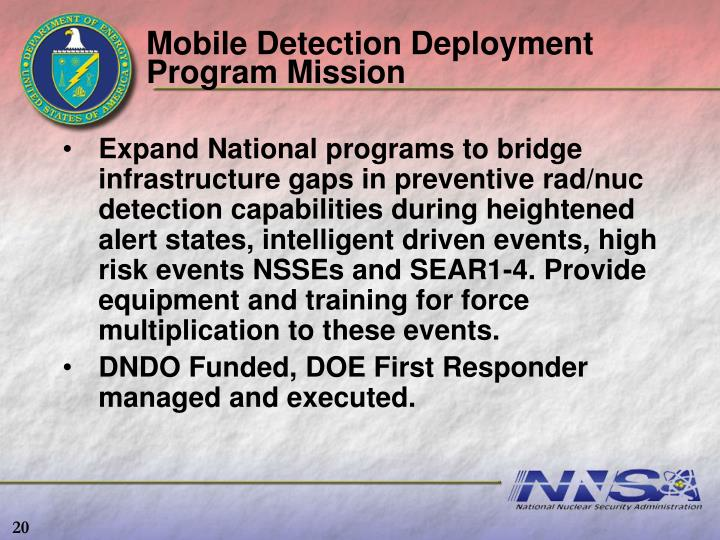 Mobile Detection Deployment Program Mission