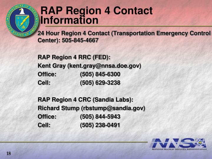 RAP Region 4 Contact Information