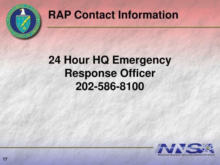 RAP Contact Information