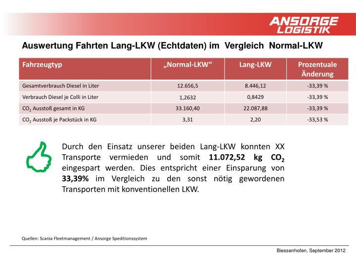 Auswertung Fahrten Lang-LKW (Echtdaten) im  Vergleich  Normal-LKW
