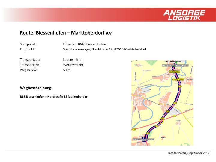 Route: Biessenhofen – Marktoberdorf