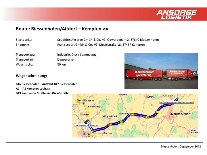 Route: Biessenhofen/Altdorf – Kempten