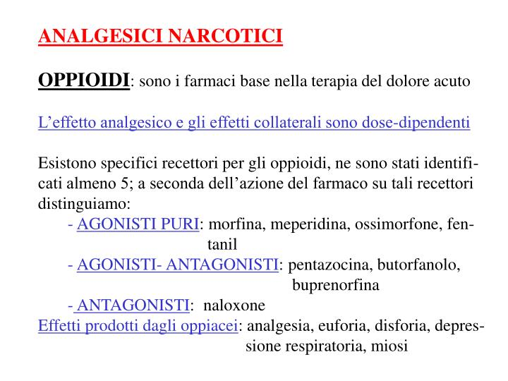 ANALGESICI NARCOTICI