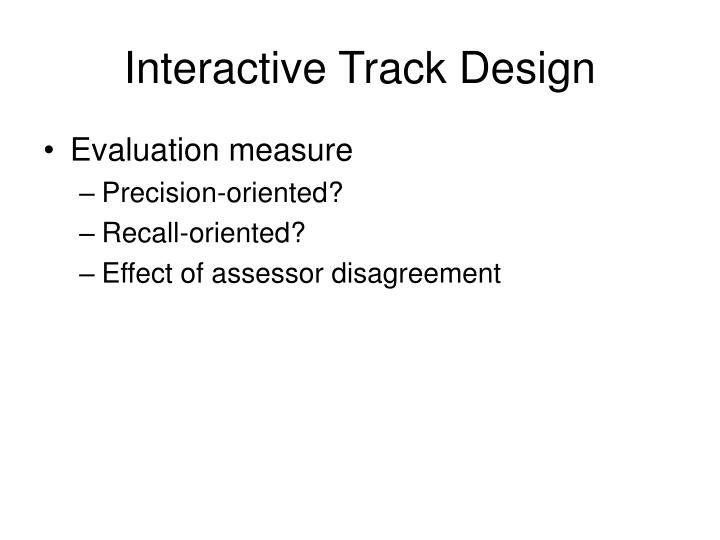 Interactive Track Design