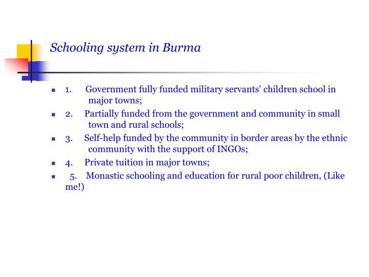 Schooling system in Burma