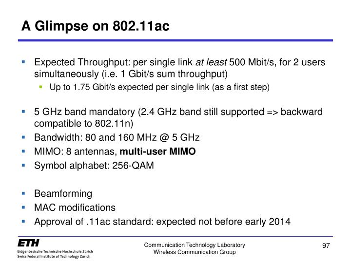 A Glimpse on 802.11ac