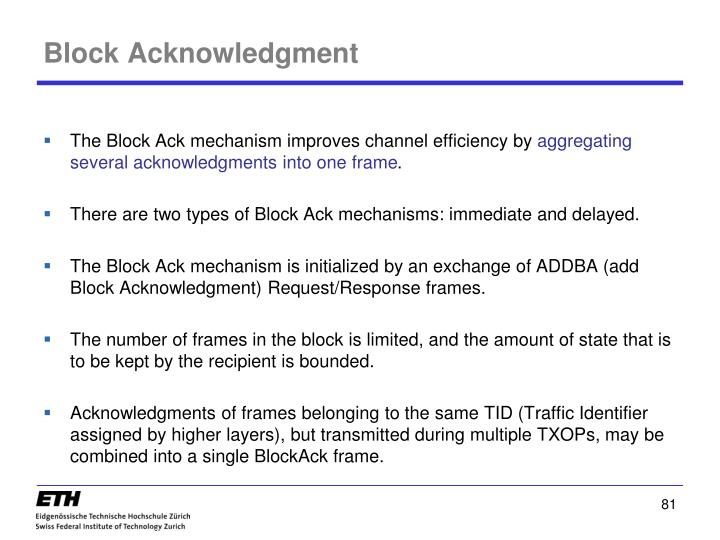 Block Acknowledgment