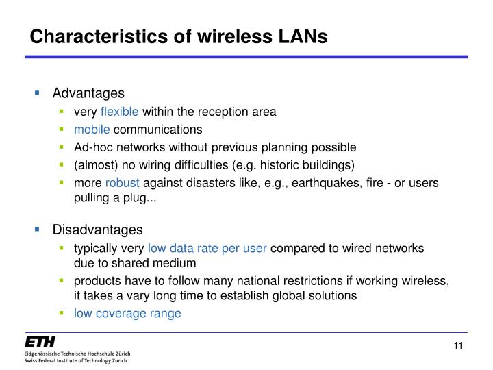 Characteristics of wireless LANs