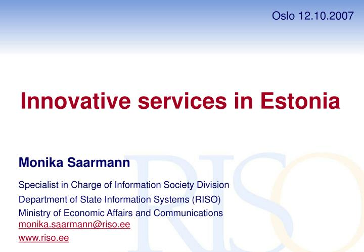 Innovative services in estonia
