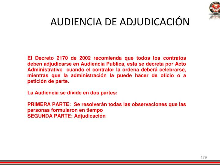 AUDIENCIA DE ADJUDICACIÓN