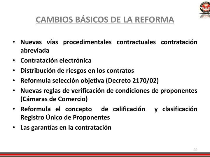 CAMBIOS BÁSICOS DE LA REFORMA