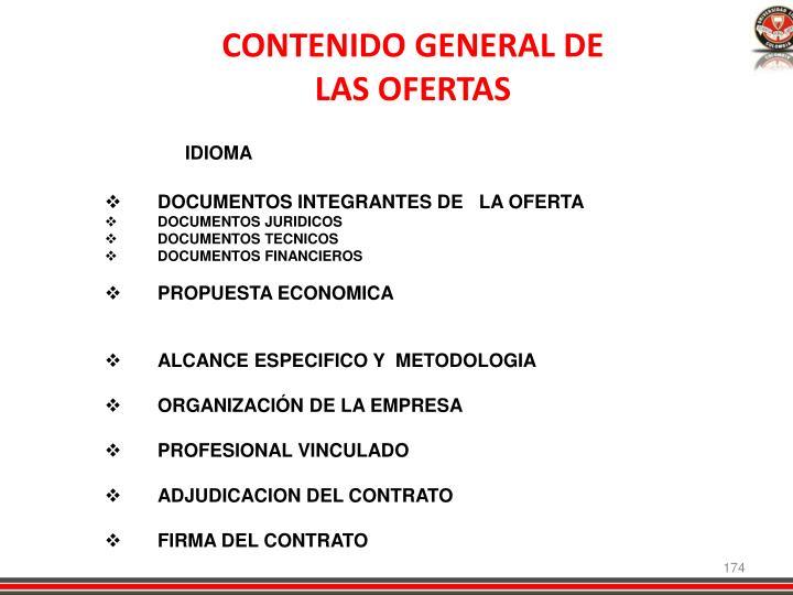 CONTENIDO GENERAL DE