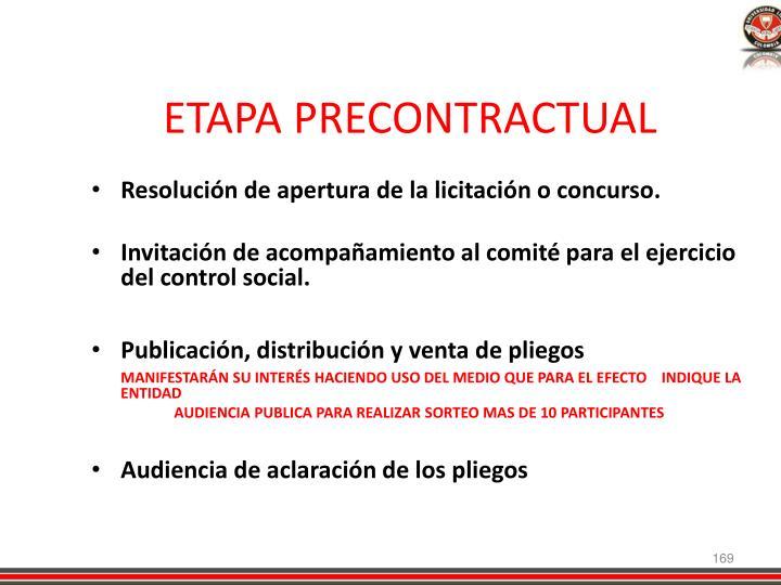 ETAPA PRECONTRACTUAL