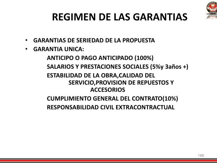 REGIMEN DE LAS GARANTIAS