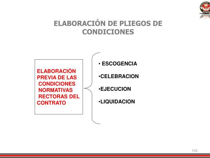 ELABORACIÓN DE PLIEGOS DE CONDICIONES