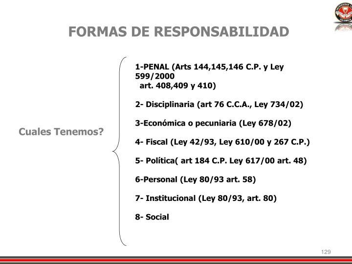 FORMAS DE RESPONSABILIDAD