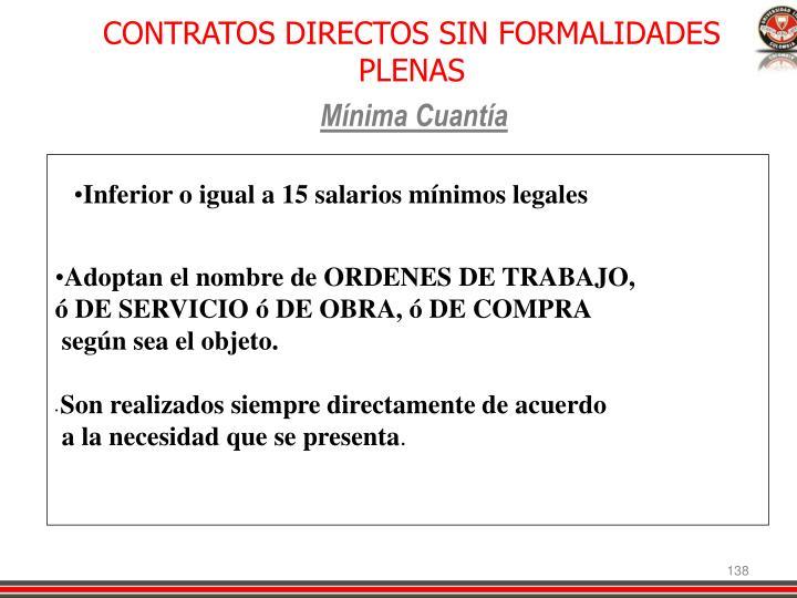 CONTRATOS DIRECTOS SIN FORMALIDADES PLENAS