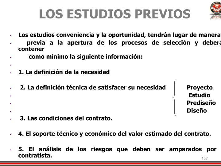 LOS ESTUDIOS PREVIOS