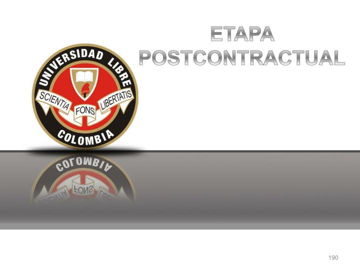 ETAPA POSTCONTRACTUAL