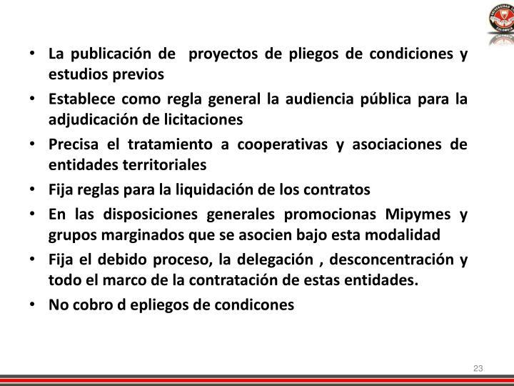 La publicación de  proyectos de pliegos de condiciones y estudios previos