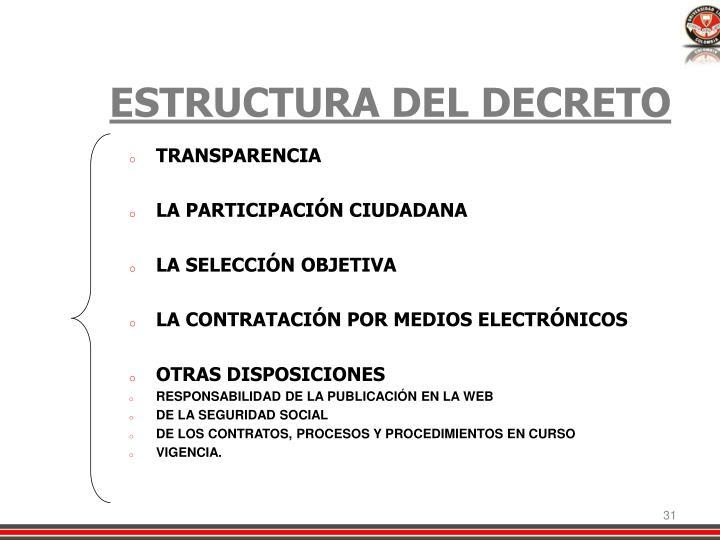 ESTRUCTURA DEL DECRETO