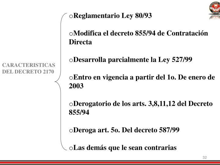 Reglamentario Ley 80/93