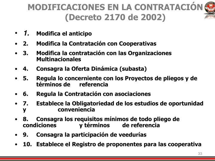 MODIFICACIONES EN LA CONTRATACIÓN  (Decreto 2170 de 2002)