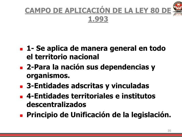 CAMPO DE APLICACIÓN DE LA LEY 80 DE 1.993