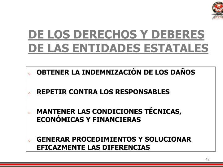 DE LOS DERECHOS Y DEBERES DE LAS ENTIDADES ESTATALES