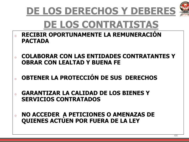 DE LOS DERECHOS Y DEBERES DE LOS CONTRATISTAS