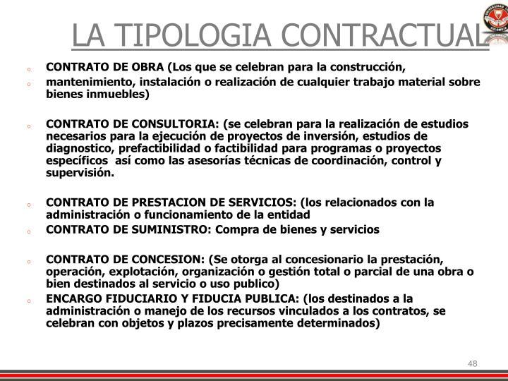 LA TIPOLOGIA CONTRACTUAL