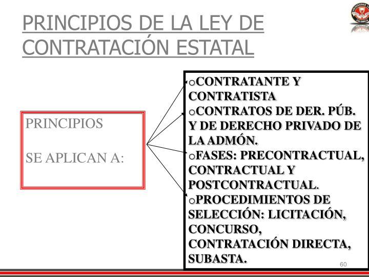 PRINCIPIOS DE LA LEY DE CONTRATACIÓN ESTATAL